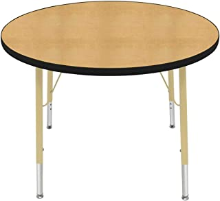 "product image for Creative Colors 36"" Round Table with Top Color: Maple, Edge Color: Black, Leg Height: Standard 21""-30"", Glide Style: Self-Leveling Nickel"