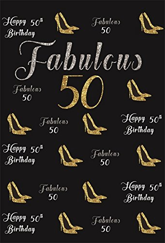 - LFEEY 6x9ft Lady Mother's 50th Birthday Party Backdrop Customizable Women Fabulous Fifty Years Old Word Clouds Golden High Heels Pattern Black Photo Background Video Drapes Photo Booth Props