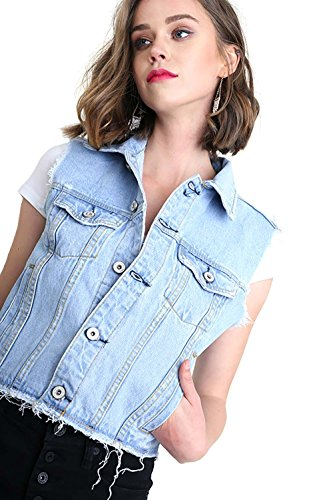 Cropped Sweater Vest (Women's Sleeveless Light Wash Cropped Denim Vest with Button Front Closure)