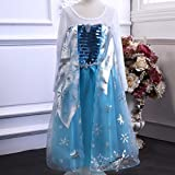 Frozen Elsa Snow Queen Inspired Blue Satin Snowflake Costume 2-13 Years