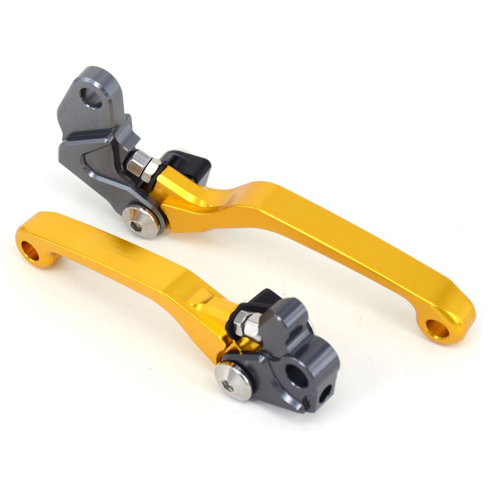 JFG RACING Billet Pivot Foldable Clutch Brake Lever For Suzuki RM125 RM250 96-03 Dirt Bike Motorcycle Gold