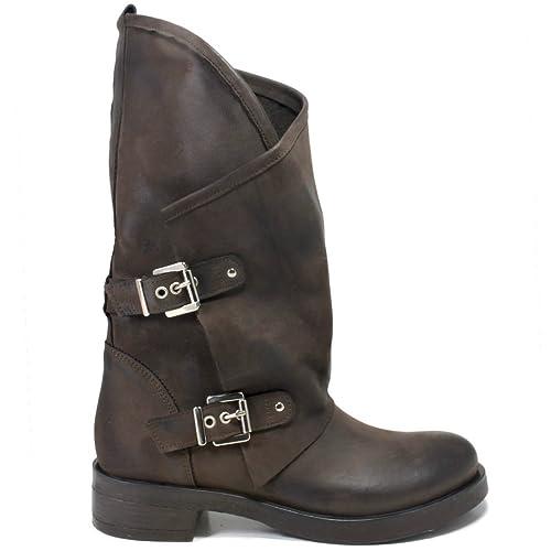 02cd7b0e12 In Time Stivali Biker Boots con Fibbie Donna 0287 Marrone Testa di Moro  Vera Pelle Nabuk Made in Italy Taglia 37