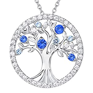 Christmas Jewelry Birthday Necklace Gifts for Women Created Sapphire Tanzanite Necklace for Teen Girls Anniversary Gifts for Wife Sterling Silver Tree of Life Necklace, 16+2 Inches Extender