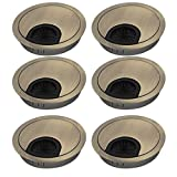 uxcell 60mm Zinc Alloy Wire Cable Hole Covers Bronze Tone 6pcs for Computer Desk Table