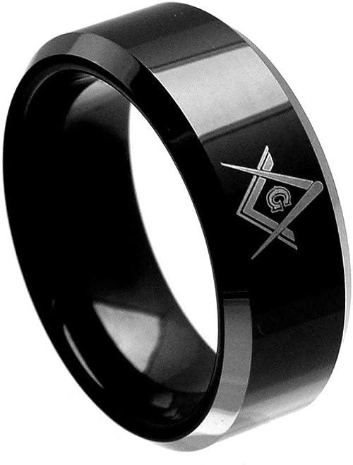 TungstenMasters 8MM Tungsten Mens Black Masonic Free Mason Wedding Band Ring