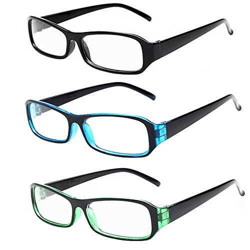 [FancyG® Vintage Inspired Classic Rectangle Glasses Frame Eyewear Clear Lens 3 Pieces Set 1] (Cool Halloween Costumes For Three Girls)
