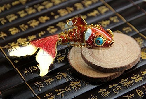 e Enamel Chinese Gold Fish Figurine Pendant Ornament Gift (Gold Enamel Fish)