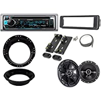 Kenwood KMRD365BT Marine Stereo Receiver Bundle Combo With (1Pair) Kicker 6.5 Speakers W/ Install brackets, Dash Kit For 1998-2013 Harley Motorcycles