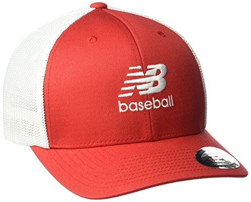 New Balance 6 Panel Curved Brim Trucker Baseball, Team Red, One Size
