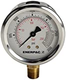 Enerpac G2516L Hydraulic Pressure Gauge with Dual 0 to 3,000 PSI and 0 to 200 Bar Range, 2-1/2''-Dia. Face, 1/4'' NPTF Male, Lower-Mount Connection