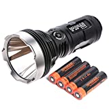 Manker MK35 CREE XHP35 HI LED Flashlight Output 2550Lumens Throwing 1420Meters Use 4x 18650 Battery (MK35 NW+4x 3400mAh 18650 Batteries)