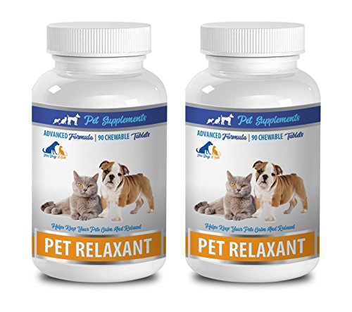 cat calming products for aggression - NATURAL RELAXANT FOR DOGS AND CATS - CALM AND RELAXED - PET ANXIETY RELIEF - chamomile cat - 2 Bottle (180 Chews) by PET SUPPLEMENTS