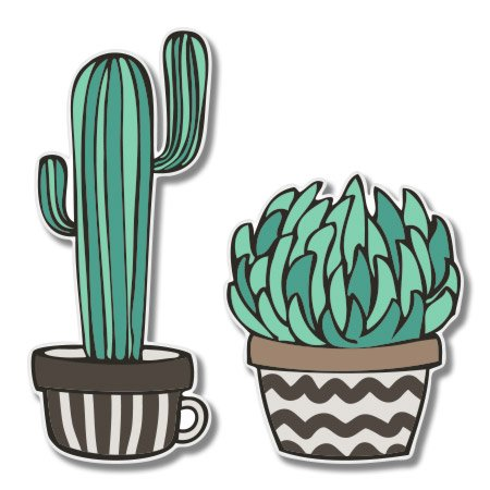 Cacti Set Cute Trendy Vinyl Sticker - Car Phone Helmet - SELECT SIZE