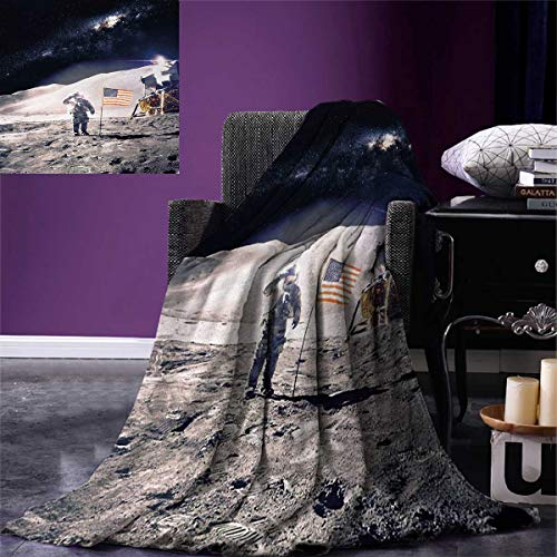 Anniutwo Space Super Soft Blanket Astronaut on Moon American
