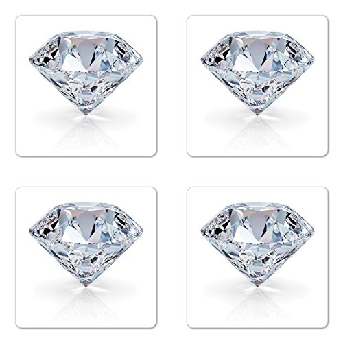 Lunarable Diamonds Coaster Set of 4, 3D Image of a White Topaz with Reflections Nobility Royalty Treasure Theme, Square Hardboard Gloss Coasters for Drinks, Pale ()