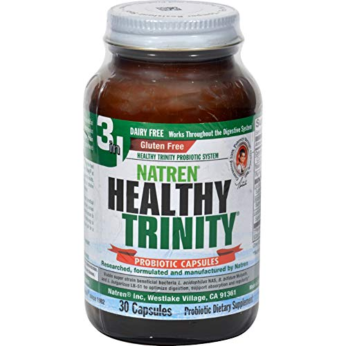 2 Pack of Natren Healthy Trinity Dairy Free - 30 Capsules - Maximize Digestion - Gluten Free - Non ()