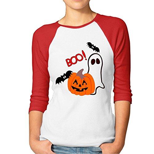 LOYRA Women's 3/4 Sleeve Halloween Boo Running T-Shirt Red XXL
