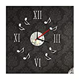 Alrens(TM)Silver Roman Numbers and Music Notes Pattern Mirror Surface Wall Clock DIY 3D Acrylic Wall Sticker Removable Living Room Bedroom Coffee House Decor Mural Decal Home Decoration Art