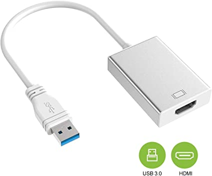 USB 3.0 to HDMI for Multiple Monitors 1080P HD Audio Video Cable Converter Silver Not Support Mac, Vista Compatible with Windows XP//10//8.1//8//7 USB to HDMI Adapter