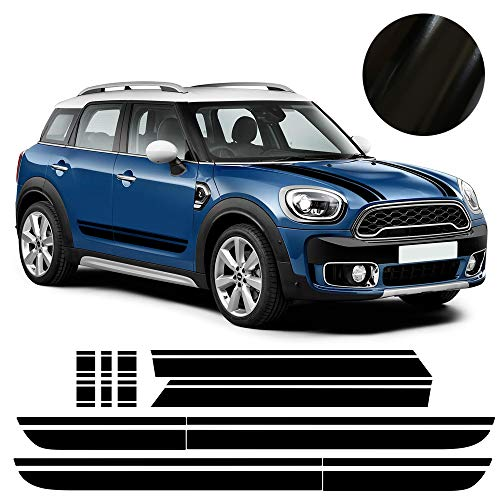 Car Styling Hood Bonnet Cover Decal Side Skirt Racing Stripes Rear Trunk Stripes Kit Decals Stickers for Mini Cooper Countryman f60 2017-Present (Without all4 Emblem) (Gloss ()