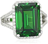 Charles Winston Sterling Silver Ring with Green & White Cubic Zirconia, 13.40 ct. tw.