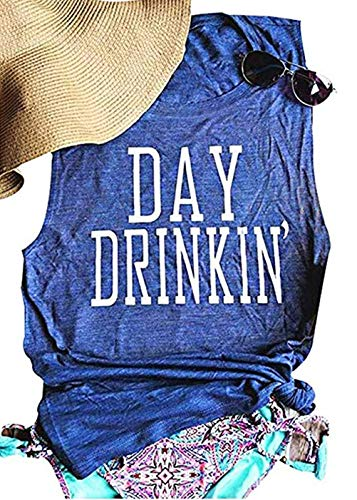 (Drinks Well with Others Tank Top Women Sleeveless Letters Print Tops Casual Black T-Shirt Blouse Size XL (Blue))
