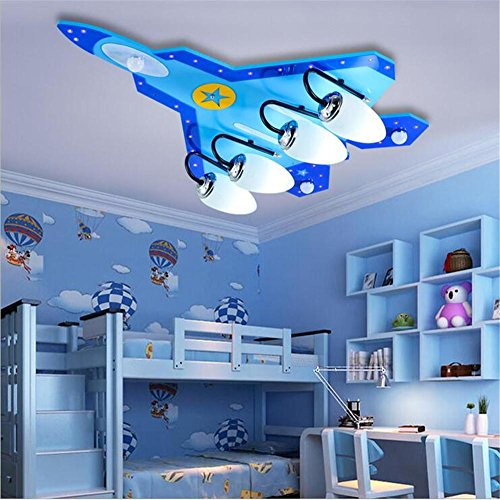 QRZE LED boy bedroom eye protection lighting creative aircraft light remote control modern children's ceiling lamps , 4 head (Moderne Four Light Island)