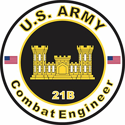 Military Vet Shop U.S. Army MOS 21B Combat Engineer Window Bumper Sticker Decal 3.8