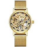 SEWOR Royal Hollow Carving Hand Wind Mechanical Watch with Golden Mesh Steel Band (Gold)