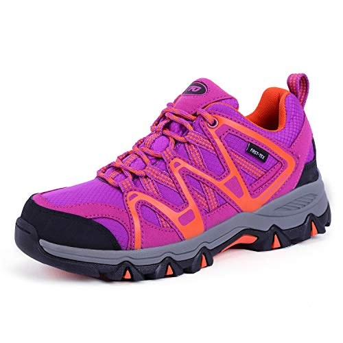 TFO Women's Lightweight Breathable Non-Slip Hiking Running Shoes Athletic Outdoor Walking Trekking Sneakers(Size 8,Purple)