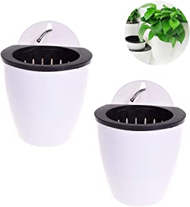 VIDELLY 2 Pieces Wall Flower pots Hanging Plants Pot Self Watering Planter Succulent Plants and Small Flower Pots Indoor Out Wall Hang Flowerpot Window Decor for Home and Office Best Gift White,Middle