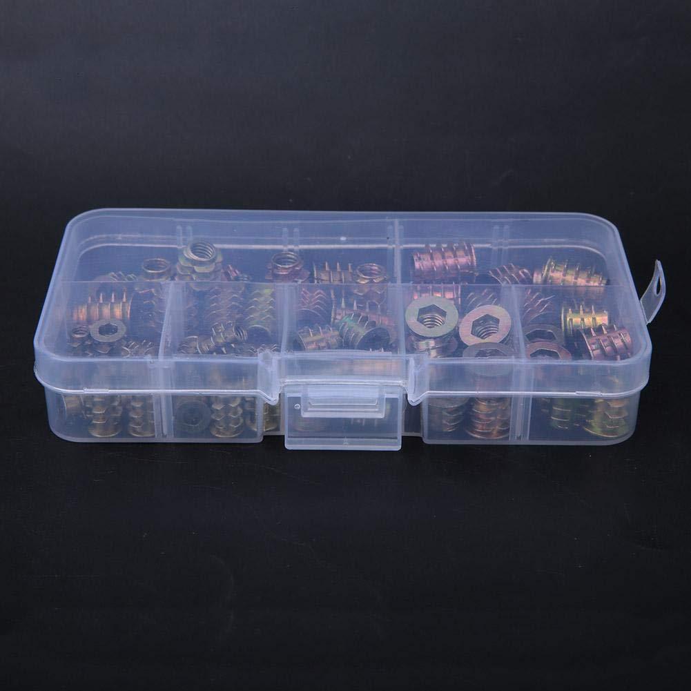 70 piezas Tornillo de mueble con brida hexagonal de aleaci/ón de zinc M4//M5//M6 Juego de surtido de conectores de tornillo de tuerca de madera Tuercas insertables roscadas