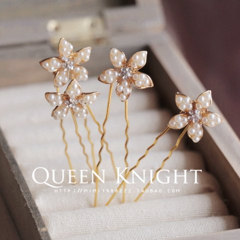 usongs pearl flowers small diamond hair clasp bride dish hair headdress three price
