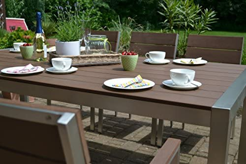 Bomey Muebles de Jardín Miami Mesa 200 x 100 + 6 sillas apilables ...
