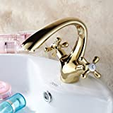 Sunhai Continental Gold luxury all-copper basin faucet hot and cold taps