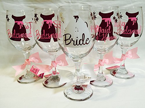 Bridal Party Wine Glasses, Bridal party gift, Maid of Honor gift, Bridesmaid gift, (one glass)