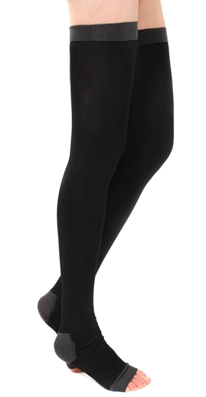 Negro TININNA Medias de compresi/ón para muslo para hombres y mujeres,Adelgazantes de compresi/ón medias de los calcetines yoga del sue/ño durante la noche hasta el muslo de las polainas Calcetines Calcetines Toeless