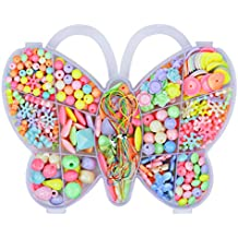 Angielucky Multicolored DIY Bead Set Educational Toys Christmas Gifts in Butterfly Case for Girls