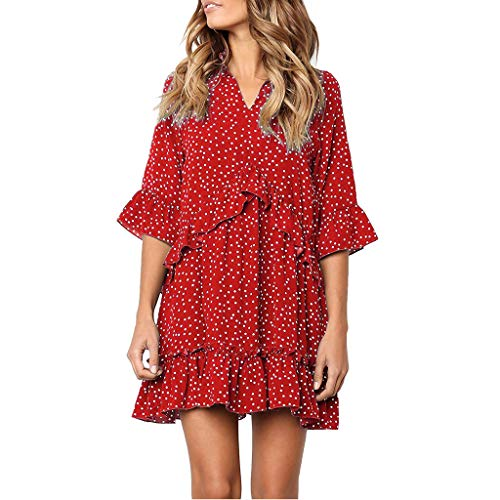 (Londony✚‿✚ Women's Ruffle Sleeve V Neck Ruffle Polka Dot Loose Fit Casual Swing Short T-Shirt Dress)