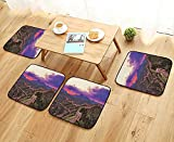 Modern Chair Cushions of China Surreal Cloudscape in Fantasy Tones Eastern Heritage Tourism Exotic Design Violet Convenient Safety and Hygiene W23.5 x L23.5/4PCS Set
