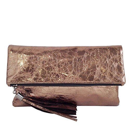 JNB Women's Cracked Metallic Fabric Foldover Clutch with Tassel, Bronze -
