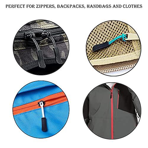 AXEN 60PCS Zipper Pulls, Premium Zipper Pull Replacement Zipper Tab Tags Cord Extension Fixer for Luggage, Backpacks, Jackets, Purses, Handbags (Black)