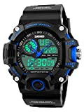 Gosasa Multi Function Military S-shock Sports Watch LED Digital & Analog 5ATM Waterproof Alarm (Blue)