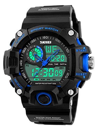 Gosasa Multi Function Military S-shock Sports Watch LED Digital & Analog 5ATM Waterproof Alarm (Blue) (Dual Alarm Watch)