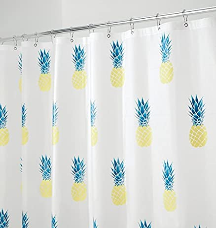 teal and yellow shower curtain. mDesign Pineapple PEVA Shower Curtain  MOLD MILDEW Resistant 72 quot x Amazon com