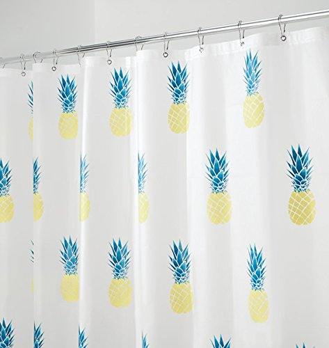 mDesign Pineapple PEVA Shower Curtain, MOLD & MILDEW Resistant - 72