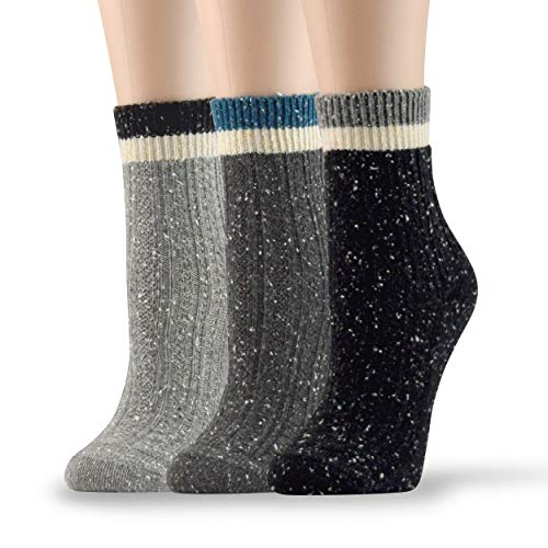 Socksmood 3 pairs women's winter cotton wool blend crew dress socks (Black, Light Gray, Dark Gray)