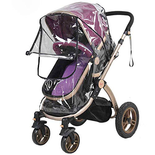 Bekith Universal Size Baby Stroller Rain Cover - Waterproof Umbrella Stroller Wind Dust Shield Cover for Strollers - See Thru, Clear, Protects Against Wind, Rain, Snow, Insects
