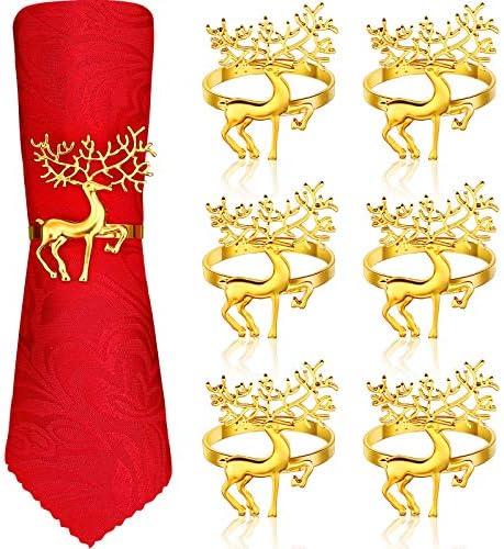 Anelli Portatovagliolo Natale Anelli Tovaglioli Cervo per Natale Cene Feste, Ornamenti di Nozze, Decorazione da Tavola per Casa Cucina Tavola da Pranzo Accessori Biancheria (Oro, 6 Pezzi)