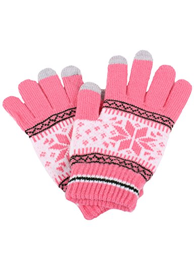 [10STAR11 Women's Colorful Fleece Soft Patterned Touch Screen Winter Gloves PINK,O] (Pixel Gloves)